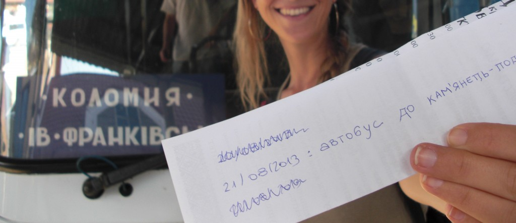 """Cómo moverse por Ucrania:  Aquí escribimos """"Autobús para Kamyanets Podilsky el 21/08/2013. Funciona! :-)"""