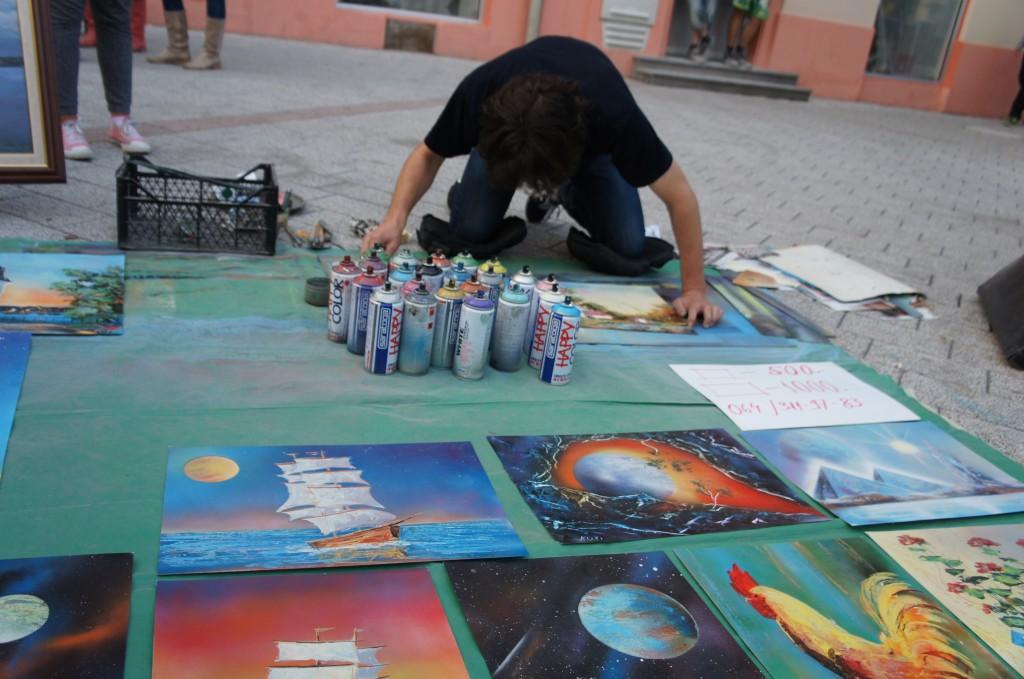 Artistas callejeros en el casco viejo