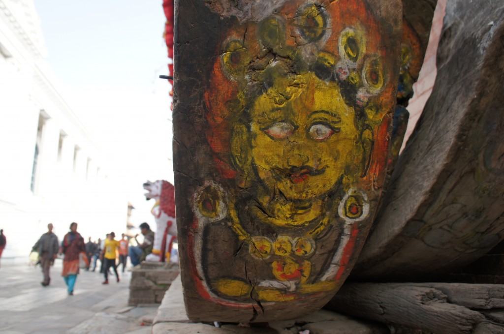Painting details, sole foot of a Boudda statue in Durbar square