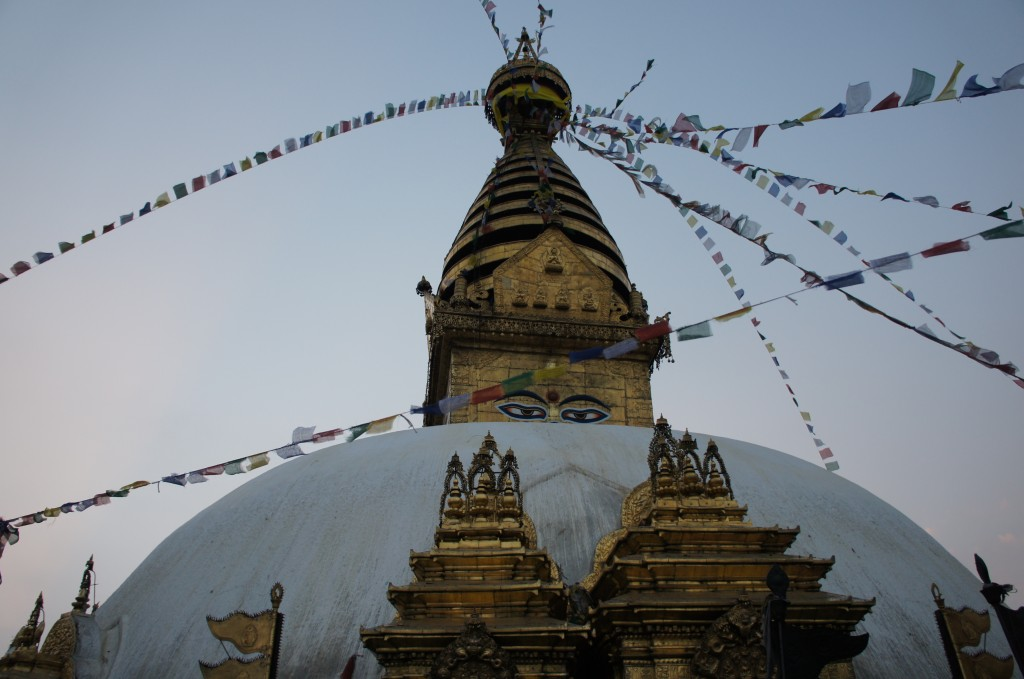 Swayambhunath temple, a UNESCO heritage site. One of the most beautiful buddhist temples in the town with views to all the city.