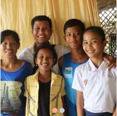 Our host family in Cambodia during the 1st days of our experience
